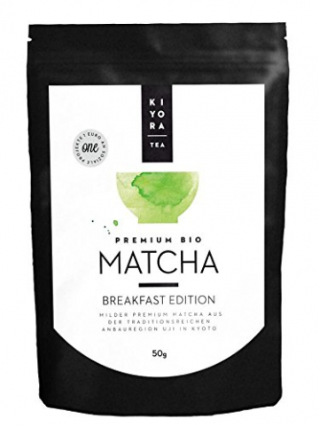 Kiyora Tea Bio Matcha Grüntee-Pulver aus Uji in Kyoto, Japan Breakfast Edition, 1er Pack (1 x 50 g) - 1